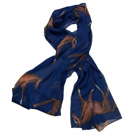 Scarf Horse Pattern Navy
